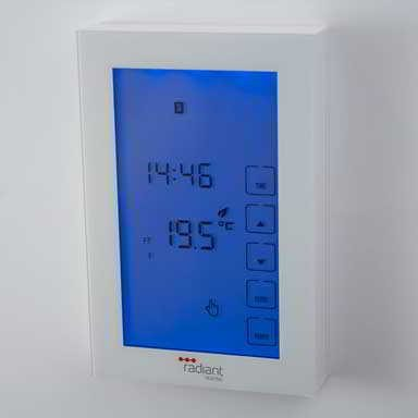 Glass front towel rail timer switch