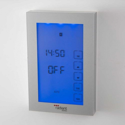 glass front timer for towel rails