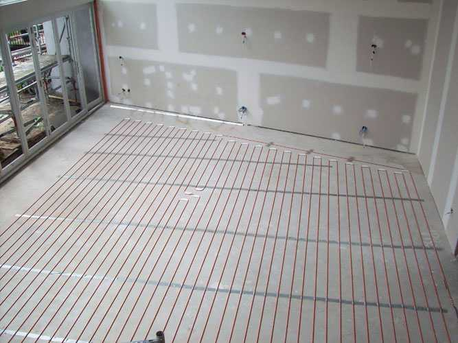 in-screed under floor heating living room