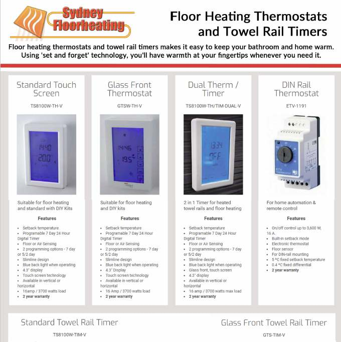 underfloor heating thermostat brochure